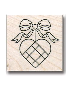 Woven Heart Rubber Stamp