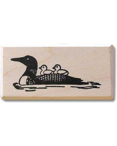 Loon with Babies Rubber Stamp