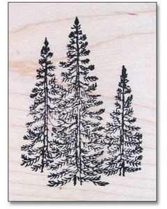 Mini Forest (3 Trees) Rubber Stamp