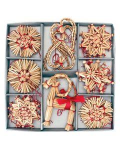 Straw Ornament Assortment Box of 34