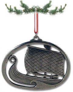 Pewter Viking Ship Ornament