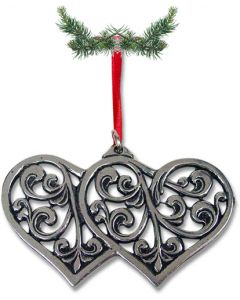 Acanthus Double Heart Pewter Ornament