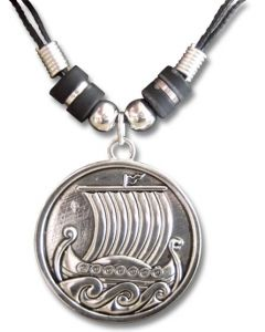 Round Viking Ship Pendant Necklace