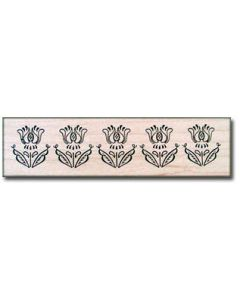 Tulip Border Rubber Stamp