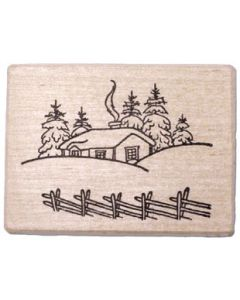 House Winter Scene Rubber Stamp