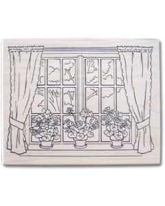 Flower Window Rubber Stamp