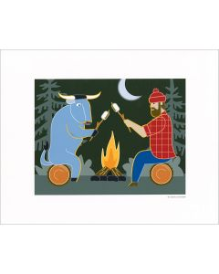 Babe and Paul at the Campfire Print