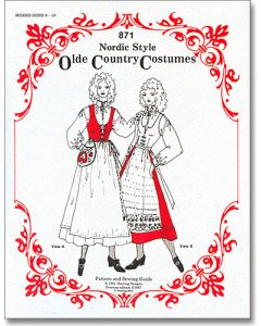 Misses Nordic Folk Costume Pattern #871 Sizes 8-16