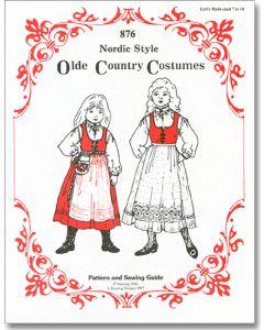Girl's Nordic Folk Costume Pattern #876 Sizes 7-14