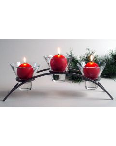 Danish Iron 3 Cup Arch Candleholder