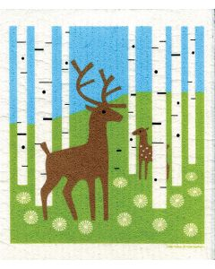 Deer in Forest Cellulose Dishcloth