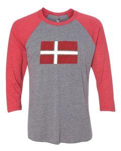Denmark Flag Baseball Tee