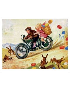 Vintage Easter Card - Cyclists
