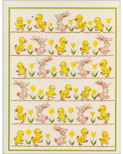 Vintage Easter Card - Chicks & Bunnies