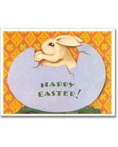 Vintage Easter Card - Bunny in Egg