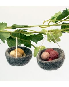 Felted Eggs in a Nest Ornaments
