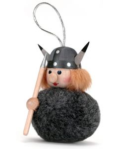 Fuzzy Viking Woman Ornament