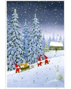 Gift Sleigh Advent Calendar Card