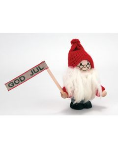Tomte with God Jul Flag