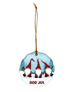 God Jul Tomte Trio Ornament
