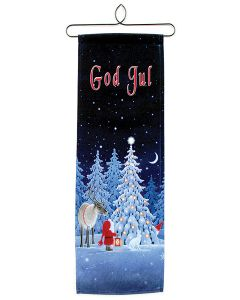 God Jul Tomte with Reindeer Wall Hanging