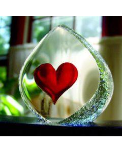 Mats Jonasson Heart Crystal Block