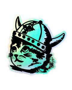 Viking Kitty Iridescent Sticker
