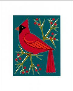 Cindy Lindgren Cardinal & Berries Print