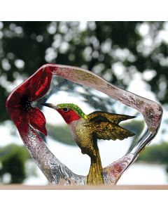 Mats Jonasson Hummingbird Crystal Block
