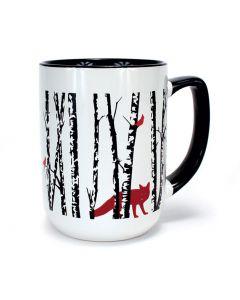 Moose and Fox in Birches Mug