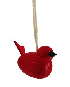 Wooden Bird Ornament - Red