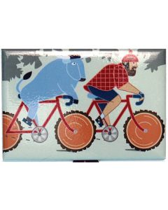 Paul and Babe on Bike Magnet