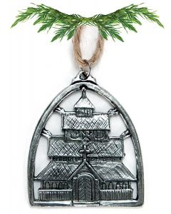 Pewter Stave Church Ornament