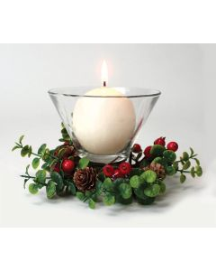 Pine Cone and Berry Pillar Candle Ring