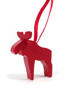 Red Wooden Moose Ornament
