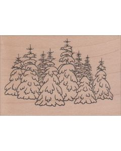 Snow Covered Trees Rubber Stamp