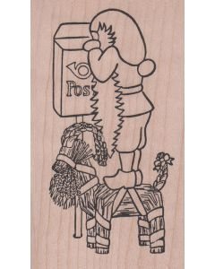 Tomte with Julbock at Postbox Rubber Stamp
