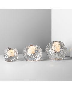 Orrefors Snowball Candleholders - Set of 3