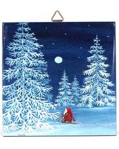 Snowy Tomte Skier Tile