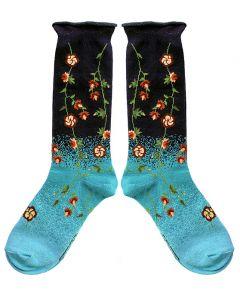 Tibetan Flowers Turquoise Socks