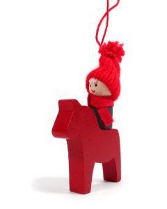 Tomte on a Dala Horse Ornament