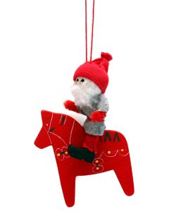 Tomte on Painted Dala Horse Ornament