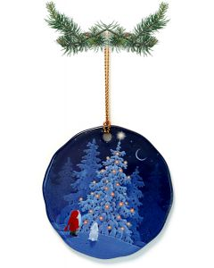 Tomte & Bunny with Christmas Tree Ceramic Ornament