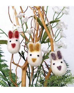 White Felted Mini Bunny Ornaments