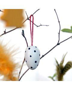 White Polka Dot Egg Ornament