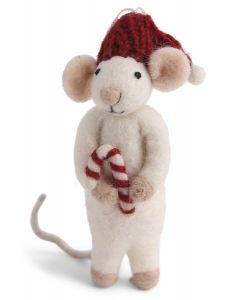 Wool Mouse's Candy Cane Ornament