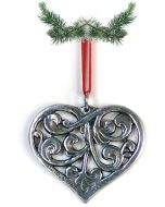 Acanthus Heart Pewter Ornament