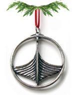 Round Oseberg Viking Ship Pewter Ornament