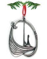Oval Oseberg Viking Ship Pewter Ornament