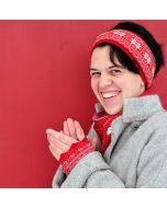 Red Vrikke Wristlets & Headband